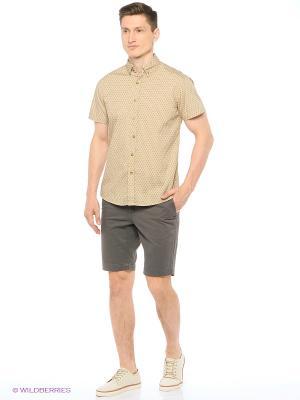 Рубашка с короткими рукавами Modis. Цвет: персиковый, черный
