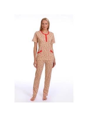 Пижама SOFT SECRET. Цвет: персиковый