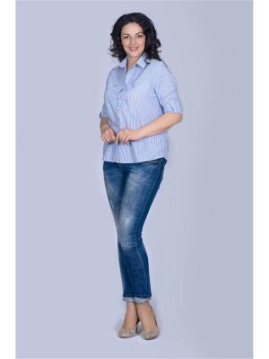Блузка Лагуна. Цвет: голубой, белый