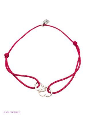 Браслет Amorem. Цвет: бордовый, серебристый