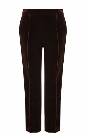 Укороченные бархатные брюки прямого кроя Lanvin. Цвет: коричневый