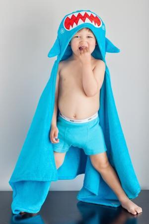 Голубое полотенце с капюшоном Zoocchini. Цвет: multicolor