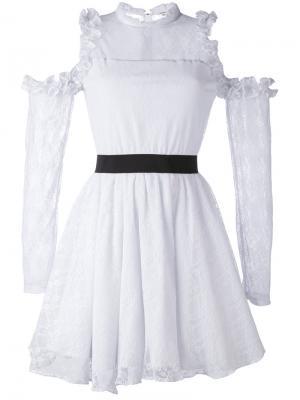 Платье с кружевными панелями и вырезами на плечах Manoush. Цвет: розовый и фиолетовый