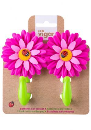 Крючок в комплекте (2 шт.) FLOWER POWER VIGAR. Цвет: розовый (розовый, зеленый)