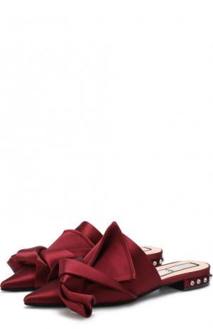 Атласные сабо с бантом No. 21. Цвет: бордовый