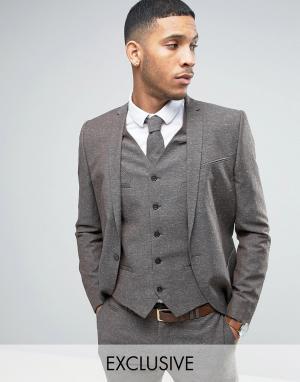 Noak Свадебный пиджак скинни из ткани с добавлением льна в крапинку. Цвет: коричневый