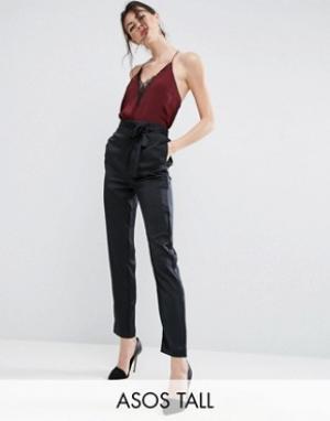 ASOS Tall Атласные брюки-галифе с завязкой сбоку Premium. Цвет: черный