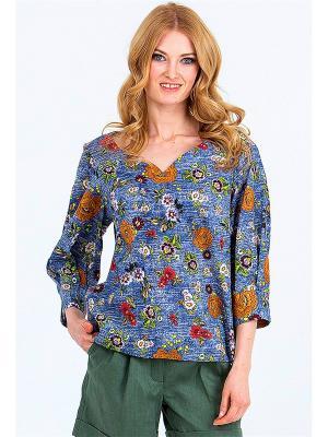 Блуза-оверсайз MARY MEA. Цвет: синий, терракотовый