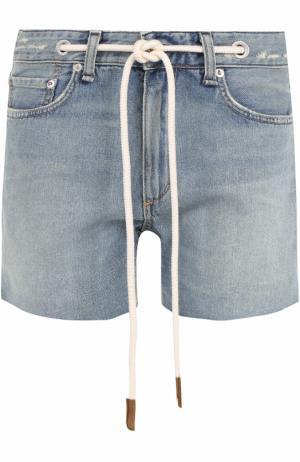 Джинсовые мини-шорты с контрастным поясом Rag&Bone. Цвет: голубой