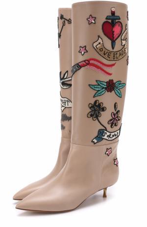 Кожаные сапоги Twisteel на каблуке kitten heel Valentino. Цвет: бежевый