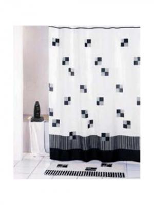 Штора для ванной (Cafe noir) Black 180*180 Bath Plus. Цвет: черный, белый