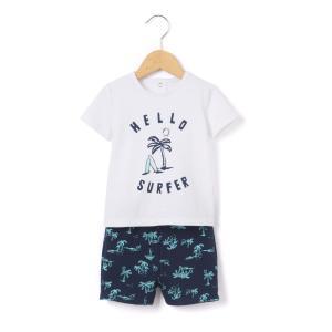 Комплект с шортами La Redoute Collections. Цвет: белый/ темно-синий