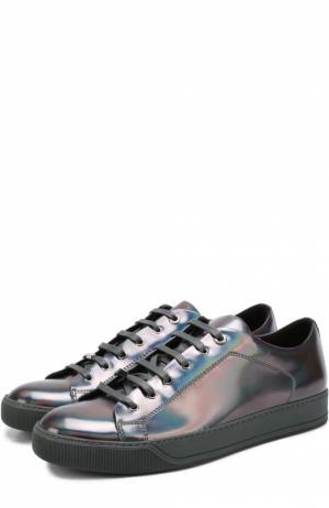 Кеды из металлизированной кожи на шнуровке Lanvin. Цвет: темно-серый