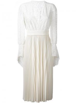 Плиссированное платье с цветочным узором Philosophy Di Lorenzo Serafini. Цвет: телесный