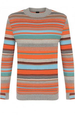 Джемпер из смеси хлопка и льна BOSS. Цвет: оранжевый