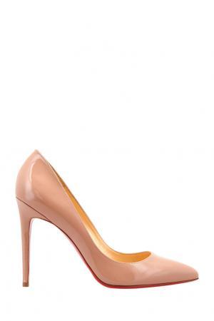 Туфли из лакированной кожи Pigalle 100 Patent Calf Christian Louboutin. Цвет: бежевый