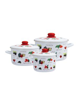 Набор посуды 6 предметов (2л, 4л, 5л), мет.крышки METROT. Цвет: белый, красный