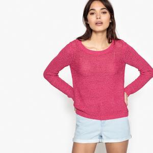 Пуловер с круглым вырезом, из тонкого трикотажа ONLY. Цвет: розовый фуксия