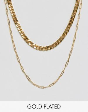 Gogo Philip Позолоченное ожерелье в два ряда. Цвет: золотой