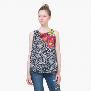 Блузка без рукавов с рисунком DESIGUAL. Цвет: черный