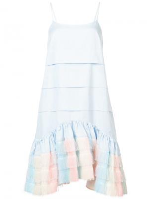 Платье длины миди на бретелях Jourden. Цвет: синий
