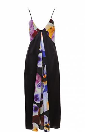 Шелковое платье-комбинация с цветочными вставками Christopher Kane. Цвет: разноцветный