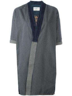 Полосатое джинсовое кимоно Sandrine Rose. Цвет: синий
