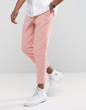 ASOS Комбинируемые розовые строгие брюки суженного книзу кроя. Цвет: розовый