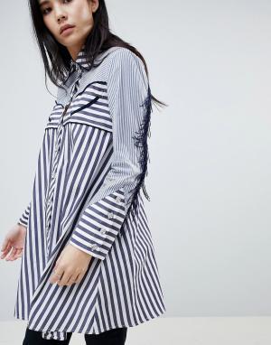 House of Holland Рубашка в полоску с контрастной отделкой и бахромой стиле вестерн Ho. Цвет: синий