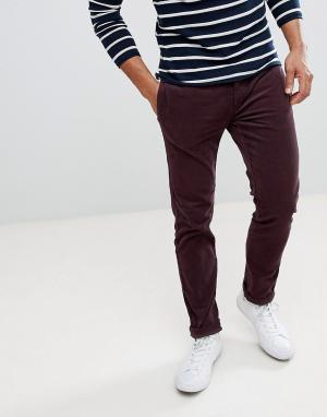 River Island Бордовые вельветовые брюки зауженного кроя. Цвет: красный