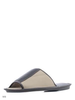 Тапочки--пантолеты PANTOLETTI. Цвет: коричневый, бежевый