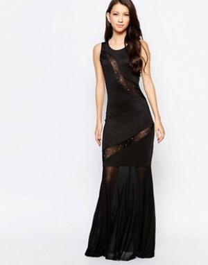Key Collections Платье макси с прозрачными вставками Ashley Roberts специально для. Цвет: черный