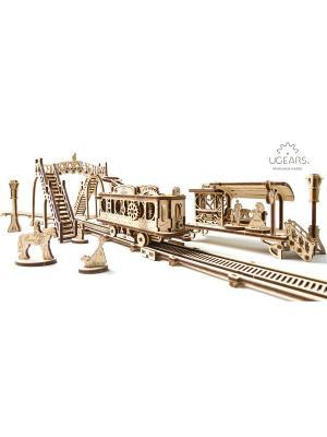 Конструктор 3D-пазл Ugears - Трамвайная линия. Цвет: светло-желтый