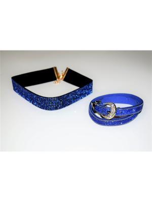 Чокер с браслетом JD.ZARZIS. Цвет: синий