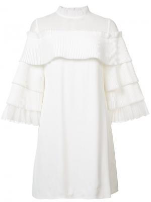 Платье мини со сборками на рукавах Alexis. Цвет: белый