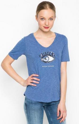 Синяя футболка с отделкой пайетками River Woods. Цвет: синий