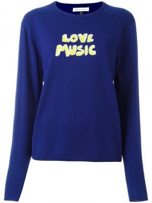 Джемпер с принтом-интарсией Love Music Bella Freud. Цвет: синий