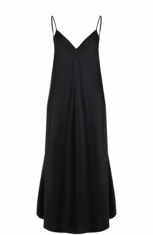 Шелковое платье-комбинация на тонких бретельках Ellery. Цвет: черный