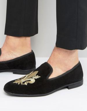 London Brogues Лоферы-слиперы с вышивкой Fleur De Lys. Цвет: черный