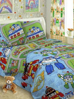 Детский комплект постельного Робот, 1,5-спальный, наволочка 50*70, хлопок Letto. Цвет: голубой, зеленый, синий