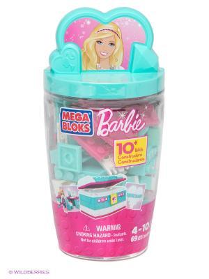 Набор Barbie в тубусе Шкатулка MEGA BLOKS. Цвет: бирюзовый, розовый