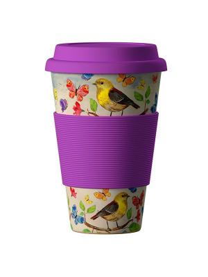 Бамбуковая эко-термокружка Птицы BambooCup Areon. Цвет: темно-фиолетовый, светло-оранжевый, темно-серый