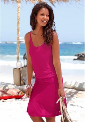 Пляжное платье BEACH TIME. Цвет: белый/бирюзовый/синий, белый/оранжевый/ярко-розовый, бордовый/абрикосовый, синий/с рисунком, черный, черный/серый
