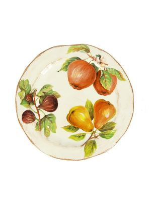 Тарелка подстановочная 30см Фрукты Sestesi. Цвет: молочный