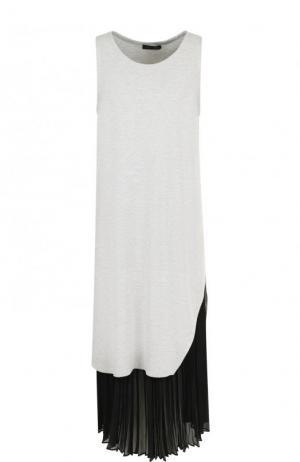 Платье-миди с контрастной плиссированной вставкой Yohji Yamamoto. Цвет: серый
