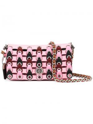 Сумка на плечо с контрастным дизайном Coach. Цвет: розовый и фиолетовый