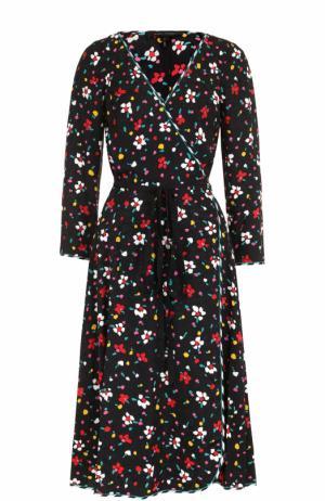 Шелковое платье-миди с запахом и поясом Marc Jacobs. Цвет: черный