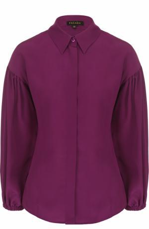 Шелковая блуза с укороченным рукавом-фонарик Escada. Цвет: лиловый