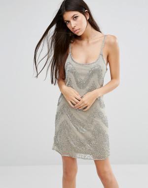 Walter Baker Платье мини с бисерной отделкой. Цвет: серый
