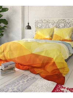 Комплект постельного белья Геометрия, семейный Сирень. Цвет: красный, оранжевый, желтый, белый